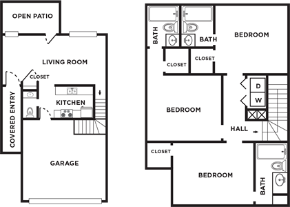 Three Bedrooms / Three and 1/2 Baths*